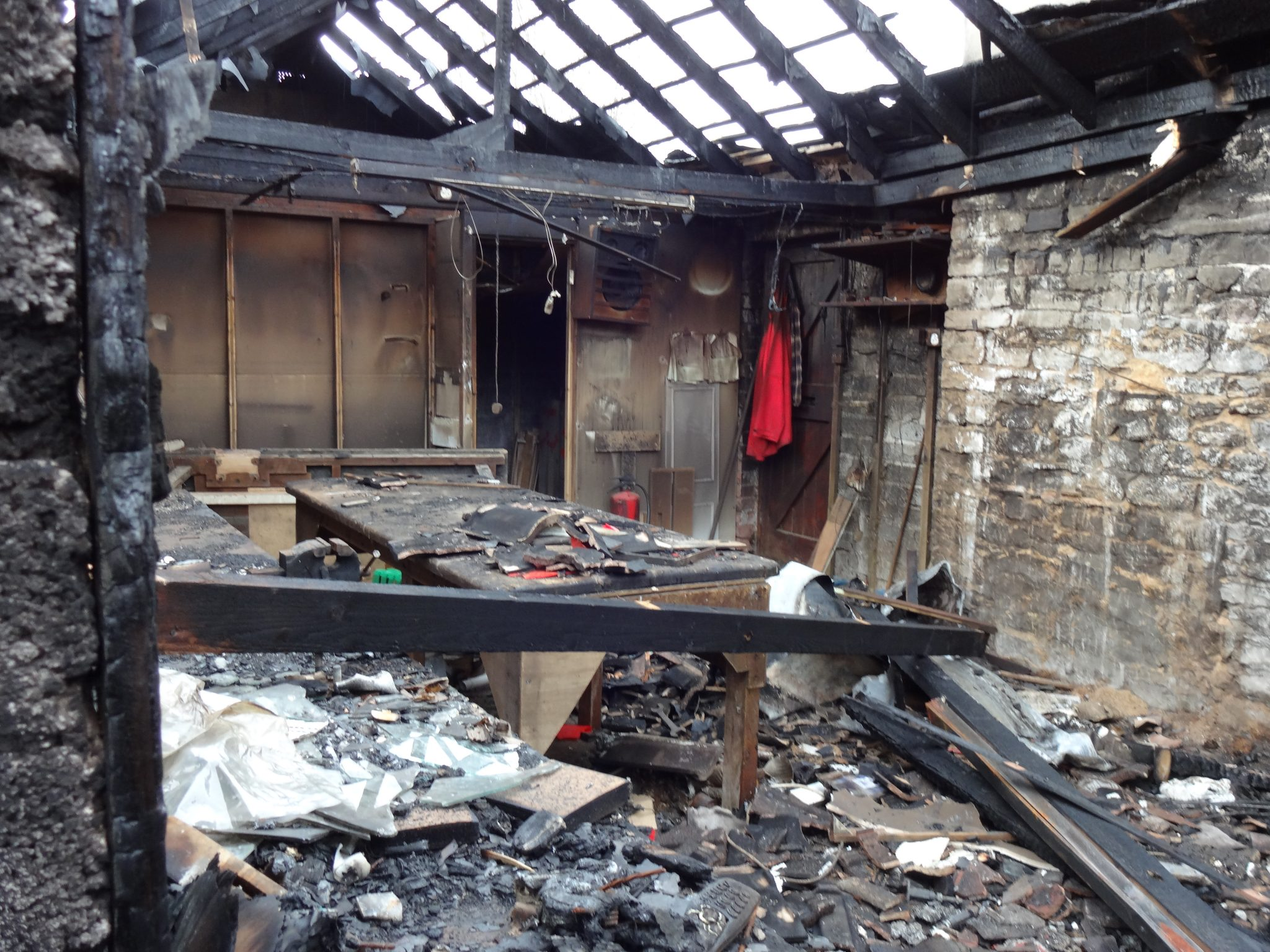 Fire Damaged Property for Demolition by AA Groundworks of Bath